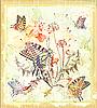 Vektor Cliparts: Hintergrund mit Schmetterlingen und Blumen