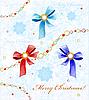 Weihnachtskarte mit Diamanten, Bändern und Schneeflocken