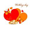 Свадебная открытка с кольцами, сердцами и бабочками | Векторный клипарт