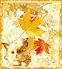 Vektor Cliparts: Ingwer Kätzchen wartet Inhaber