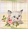 Vektor Cliparts: flauschige Kätzchen mit rose