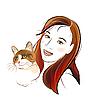 Vektor Cliparts: Porträt Ingwer Katze und Mädchen