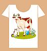 Vektor Cliparts: kindisches T-Shirt-Design mit glücklichen Kuh und Katze