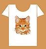 Vektor Cliparts: kindische T-Shirt Design mit glücklichen Kuh und Katze