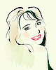 Vektor Cliparts: Aquarell Portrait flirten junge Mädchen