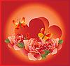 romantische Blumenkarte mit Rosen und Schmetterlingen