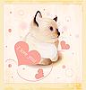 Valentinstagkarte mit kleiner Katze und Herzen