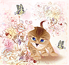 复古贺卡与小小猫和鲜花 | 向量插图