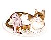 Katzen-Familie. Katze und Kätzchen