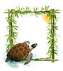 tropischer Hintergrund mit Bambus, Sonne und Schildkröte