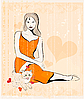 Vektor Cliparts: Mädchen und Katze