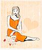 Mädchen und Katze | Stock Vektrografik