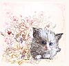 Vektor Cliparts: Grußkarte mit flauschigen Kätzchen und Rosen