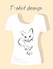 T-Shirt Design mit Umriss Silhouette Katze