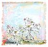 Skizze der Apfelbaum in voller Blüte