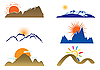 Mount and sun | Stock Vector Graphics