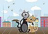 Vektor Cliparts: Zwei Liebende Katzen