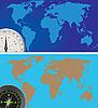 Vektor Cliparts: Welt Karte und Kompass