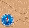 Vektor Cliparts: Landkarte und Kompass
