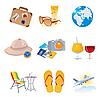Vektor Cliparts: Tourismus und Urlaub Symbole