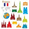 Vektor Cliparts: Symbole von Städten in Frankreich