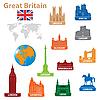 Vektor Cliparts: Symbole der Städte in Großbritannien