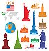 Symbole miast w USA | Stock Vector Graphics