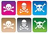 Vektor Cliparts: Gefahr-Icons mis Schädeln