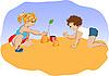 kleine Kinder spielen am Sandstrand