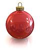 Red christmas błyszczące piłka izolowane | Stock Illustration