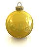 Żółty Boże Narodzenie błyszczące ball samodzielnie | Stock Illustration