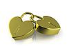 ID 3048108 | Dwa połączone złote zamki jak serca | Stockowa ilustracja wysokiej rozdzielczości | KLIPARTO