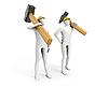 ID 3048142 | Zwei Männer mit riesigen Vorschlaghammer und Hammer | Illustration mit hoher Auflösung | CLIPARTO