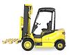Żółty wózek widłowy z paletą | Stock Illustration