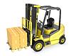 Желтый грузовик погрузчиков с Strack картонных коробок | Иллюстрация