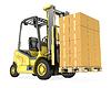 Желтый погрузчик с большой стопкой картонных коробок | Иллюстрация