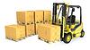 黄色的叉式起重车用纸箱STRACK | 光栅插图