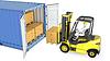 Желтый вилочный погрузчик выгружает грузовой контейнер | Иллюстрация