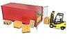 Желтый вилочный погрузчик разгружает красный контейнер | Иллюстрация