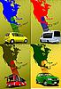 Vier Umschläge mit Karte von Nordamerika