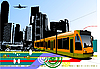 Vector clipart: urban hi-tech design with tram