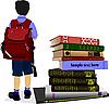 Schüler und Stapel Bücher