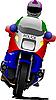 Polizist auf Polizeimotorrad auf der Straße