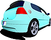 Vector clipart: 3-doors light blue hatchback car