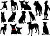 Набор силуэты собак | Векторный клипарт