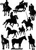 Zehn Pferden-Silhouetten