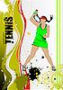 Plakat mit Tennis-Spielerin