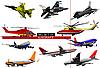Set von Flugzeugen und Hubschraubern
