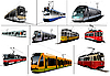 Vector clipart: Ten Trams