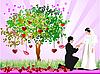 ID 3069937 | 树心,新娘和新郎的婚礼卡 | 向量插图 | CLIPARTO